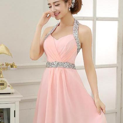 Pink Halter Homecoming Dress,Halter..