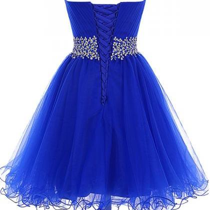 Tulle Lace-up Beaded Royal Blue Hom..