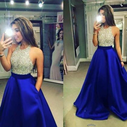 New Royal blue Satin Real Made Prom..