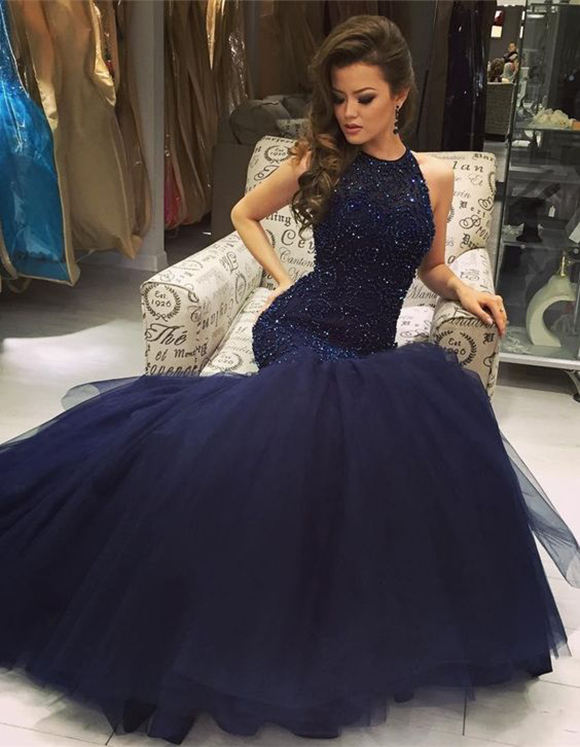 Mermaid Navy Blue Scoop Sleeveless Prom Dress With Beading,Prom ...