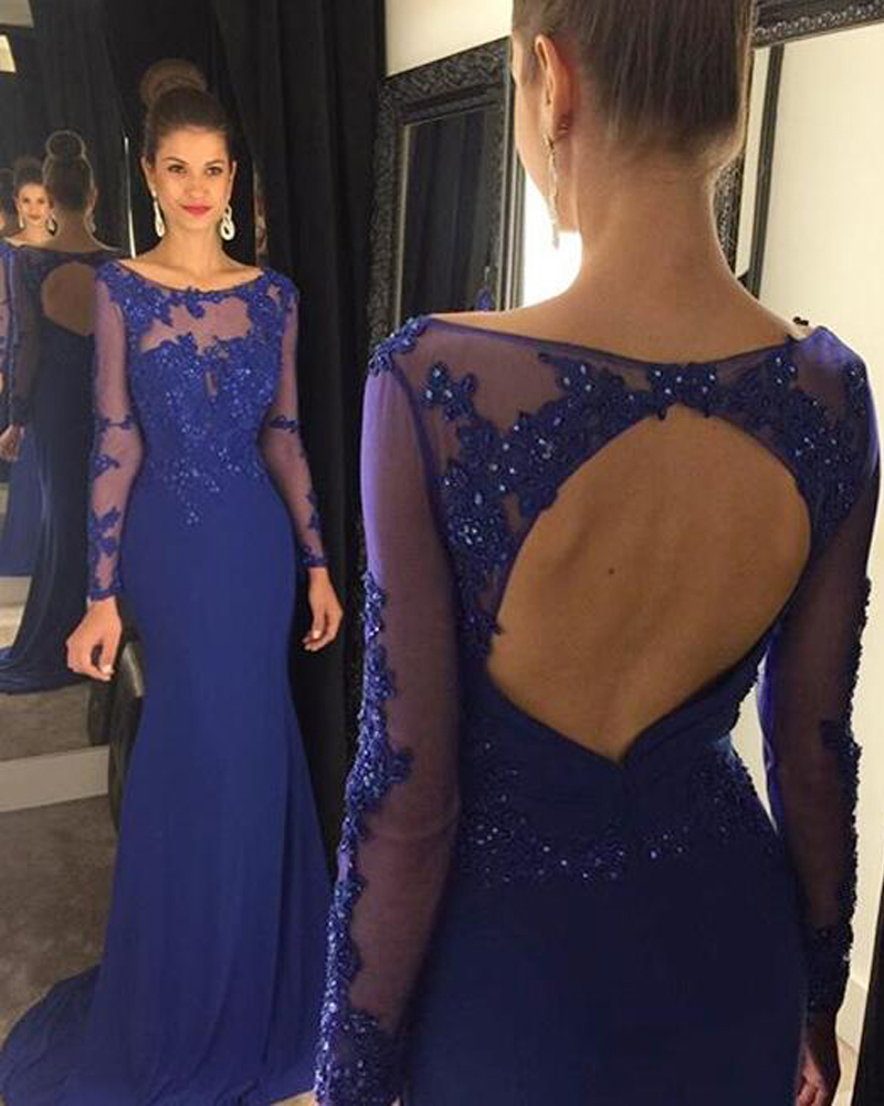 Sexy Chiffon Prom dresses,Backless Prom Dress,Mermaid Prom Dresses With Lace Appliques,Long Sleeve Elegant Evening Dress,Long Prom Dresses with Beads,Prom Dresses 2017,P069