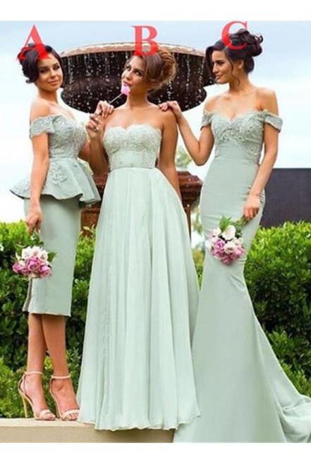 Sage Bridesmaid Dresses,Sweetheart Bridesmaid Dress,Different Style Bridesmaids Dresses,Long Prom Dress,Tea Length Bridesmaid Dress,B005