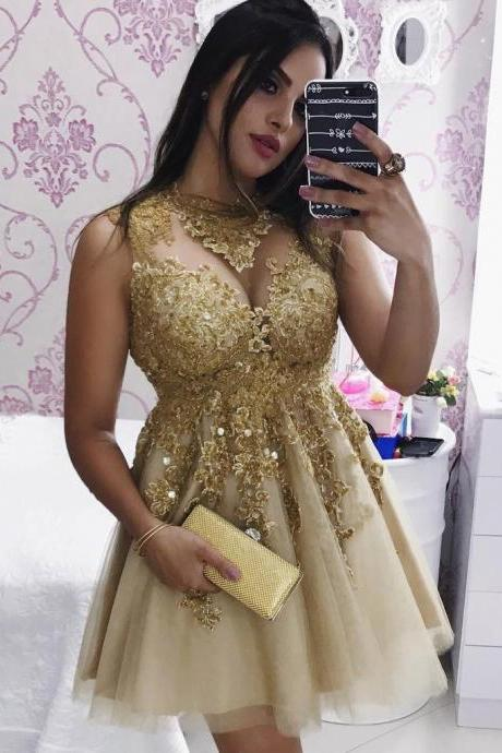 Gold Homecoming Dresses,Short Sleeveless With Lace Appliqued,Mini Homecoming Dresses,Sexy Short Tulle Prom Dresses,Graduation Dresses,Gold Cocktail Dresses,H007
