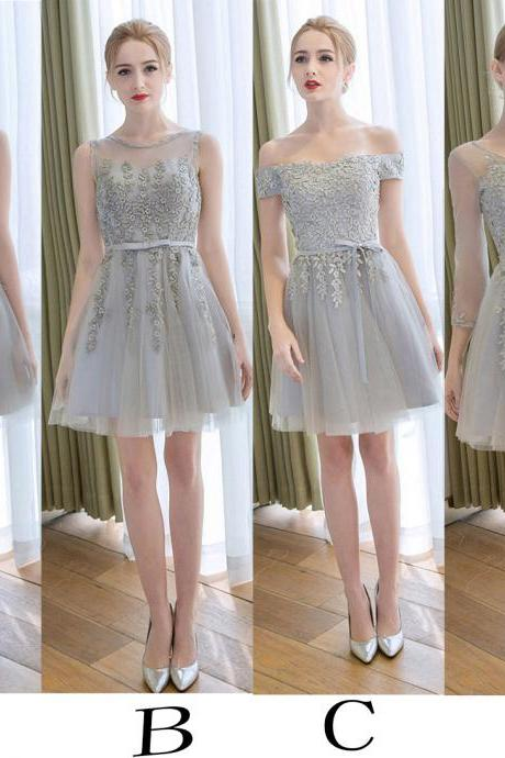 Gray Short Bridesmaid Dress With Belt,Tulle Bridesmaids Dresses,Appliqued Bridesmaid Dress,Short Prom Gown,Short Graduation Dress,Homecoming Dress.Sweet 16 Dress,B007