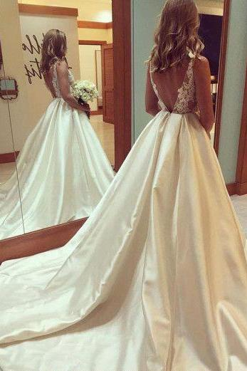 Wedding Dresses,See-through Wedding Gown,Princess Wedding Dresses With V-back,Beautiful Wedding Dress,Long Bridal Dress,Sexy Wedding Gown,W019