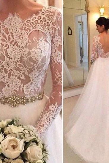 Lace Accents Crystals Beading Bridal Gowns Wedding Gowns,Tulle Wedding Dresses,Long Sleeveless Wedding Gown,Open Back Bridal Gown,Formal Dresses,Wedding Guest Prom Gowns,W021