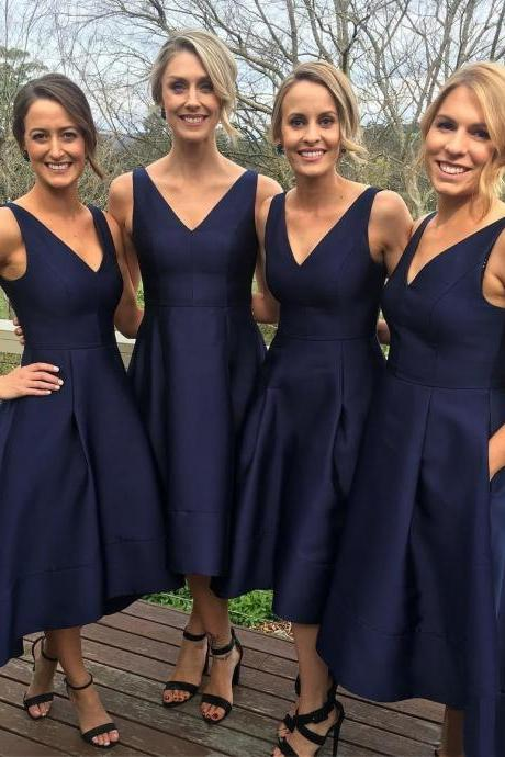 Classic Bridesmaid Dresses,Midi Bridesmaid Dress,V-neck A-line Bridesmaid Gown,Navy Blue High Low Bridesmaid Dress,Simple Bridesmaid Gown,Satin Bridesmaid Dress,B011