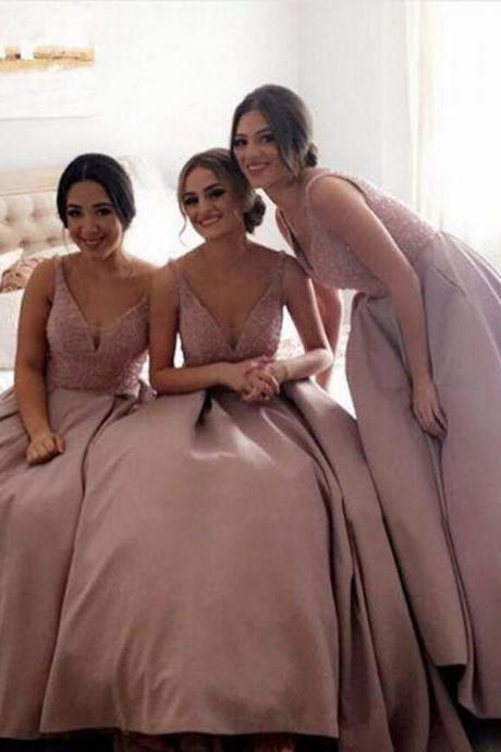 Dusty Pink Bridesmaid Dresses,Elegant Strap V-Neck Bridesmaid Gown,Floor-Length Bridesmaid Dress with Beaded,Long Fashion Prom Dress,B015
