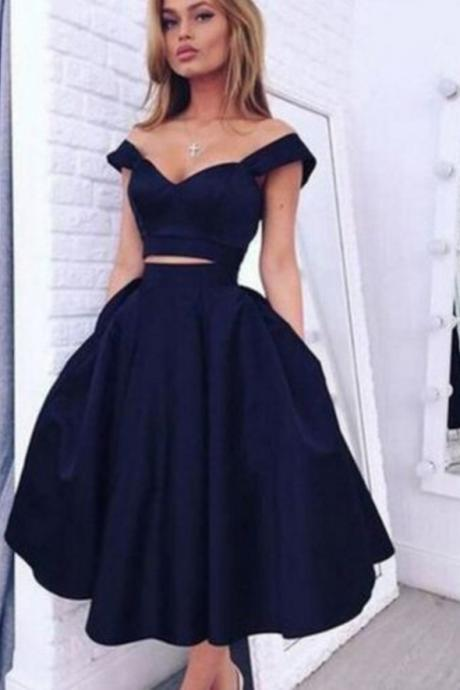 Vintage Style Short Prom Gown,A-line Two-piece Navy Blue Homecoming Dress,Cheap Two Piece Prom Dresses,Short Homecoming Gown,H034