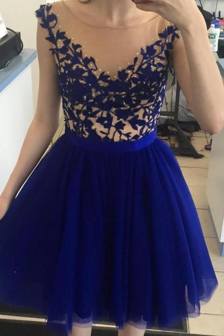 Royal Blue Appliqued Homecoming Dress,Knee Length Homecoming Dresses,Graduation Dress,Cheap Party Dresses,Short Homecoming Gown,H046