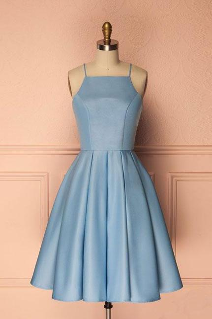 A Line Sky Blue Homecoming Gown,Spaghetti Straps Homecoming Dresses,SHort Party Dresses,Sleeveless Prom Dresses Cocktail Dresses Graduation Dresses,H049
