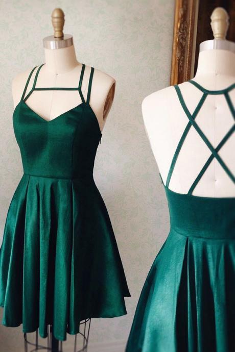 A-Line Halter Keyhole Criss-Cross Straps Homecoming Dresses,Short Dark Green Stretch Satin Homecoming Gown,V-neck Ruched Mini Dress,H053