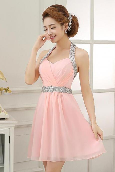 Pink Halter Homecoming Dress,Halter Silvery Beaded Sash Short Prom Dress,Chiffon Homecoming Gown,Sleeveless Homecoming Dresses,Sweet 16 Dress,H061