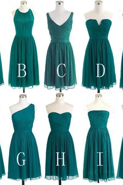 Short Chiffon Bridesmaid Dresses,Cheap Bridesmaid Dress,Chiffon Bridesmaid Dresses,Sleeveless Bridesmaid Dress,Mini Dresses,B021