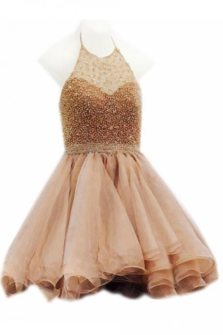 Champagne Halter Homecoming Dress,Mini Sleeveless Halter Prom Dress Short,Cocktail Dresses,Mini Party Dress,Formal Gown,H082