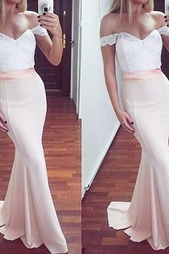 White and Pink Mermaid Prom Dresses,Off-Shoulder Long Prom Dress,Sexy Prom Gown,Long Formal Dress,Spandex Prom Gown,Off-shoulder Bridesmaid Dress,P090