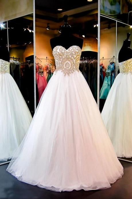 Gorgeous White Strapless Sweetheart Ball Gown Sparkly Tulle Wedding Dress with Gold Sequins,Princess Bridal Dress,W055