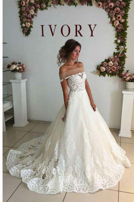 White Lace Appliqués Off-The-Shoulder Floor Length Tulle Wedding Gown Featuring Train