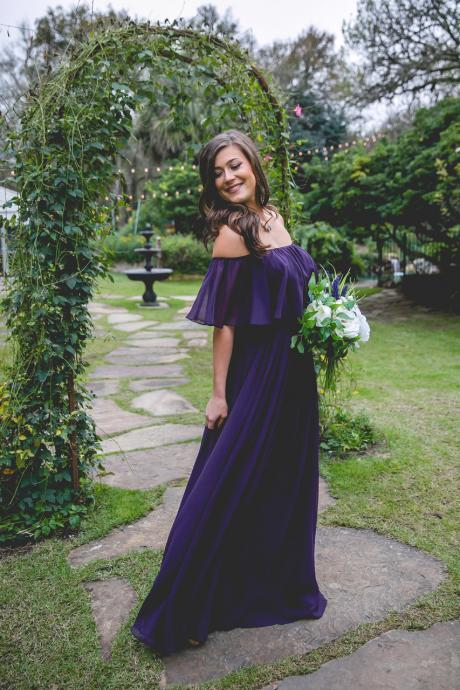 Purple Off the Shoulder Chiffon Bridesmaid Dress,Floor Length Prom Gown,Sexy Bridesmaid Gown,P228