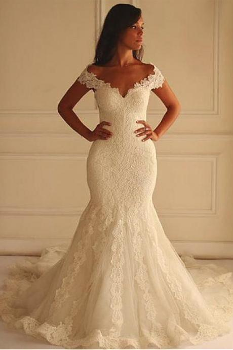 Stunning Tulle Off-the-shoulder Mermaid Wedding Dress With Lace Appliques,Lace Bridal Dress,Wedding Dress,W075