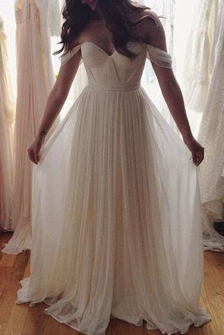 Ivory A-line Chiffon Long Prom Dress,Wedding Dress,Off the Shoulder Wedding Dress, Beach Wedding Dress, Long Dress, Bridal Dresses W076