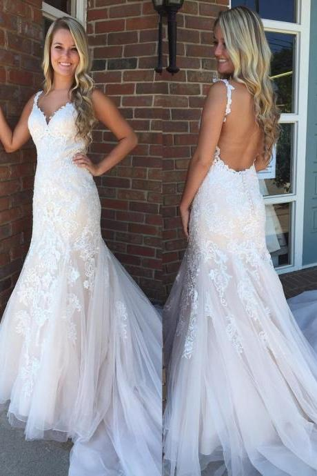 Gorgeous Mermaid Lace Appliques Long Wedding Dress, Sexy V Neck Sleeveless Bridal Dress with Court Train, W080