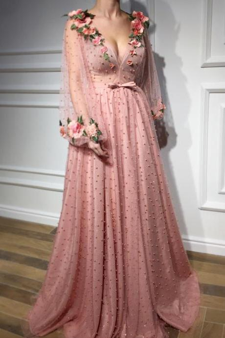 A Line Long Sleeves V-neck Beading Tulle Prom Dress with Flowers,Elegant Long Party Dress with Bow P272