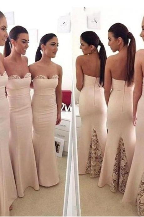 Mermaid Satin Sweetheart Sleeveless Floor-Length With Lace Bridesmaid Dresses,Strapless Maid Of Honor Dress B049