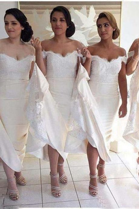 Ivory Off the Shoulder Sweep Train Bridesmaid Dress with Lace, Elegant Lace Bridesmaid Gown B051