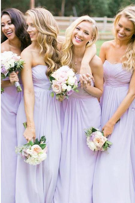 Lilac Strapless Sweetheart Ruched Chiffon A-line Floor-Length Bridesmaid Dress