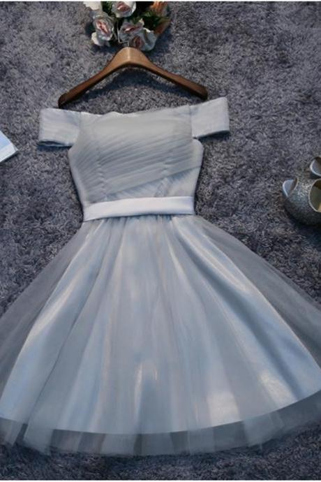 Cute Gray Tulle Short A line Short Prom Dress, Off Shoulder Tulle Homecoming Dress, Short Pleat Homecoming Dresses, Sweet 16 Dress H224