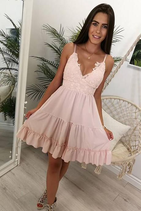 Pink Homecoming Dress, Spaghetti Strap Sweet 16 Dresses, A Line Graduation Dress with Lace, Short Prom Dress, H254