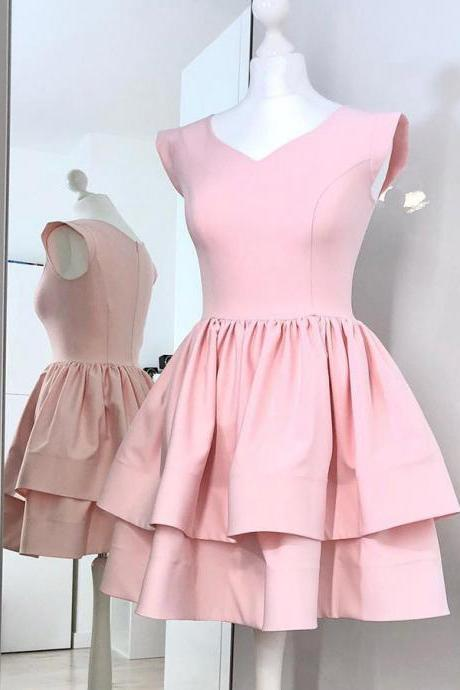 A-Line V-Neck Cap Sleeves Pink Homecoming Dress, Two Layers Satin Mini Prom Dresses, Sweet 16 Dress H330
