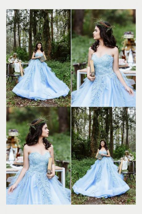 Romantic Sweetheart Blue Quinceanera Dress with Appliques Beading, Romantic Strapless Wedding Dress, Gorgeous Formal Dress W100