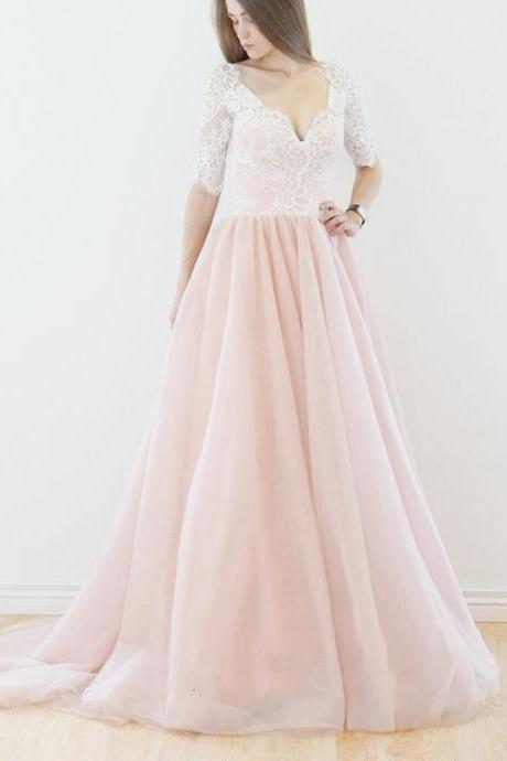 Pink Half Sleeve Wedding Dress, A Line Bridal Dress with Ivory Lace, Elegant V Neck Tulle Prom Dress, W101