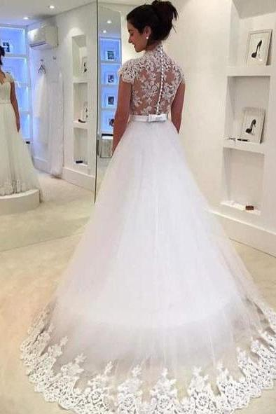 White Cap Sleeve Tulle Wedding Dress with Lace Appliques, Sweep Train Bridal Dress with Bowknot, W103