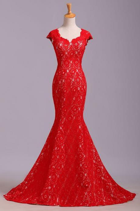 Red Cap Sleeve Lace Prom Dress, Mermaid Lace Evening Dresses, Long Open Back Evening Gown P308