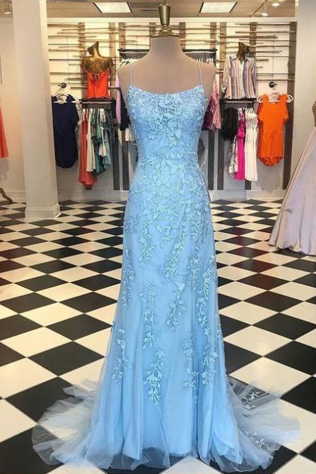 Gorgeous Spaghetti Straps Criss Cross Back Light Blue Appliqued Long Prom Dresses, Formal Tulle Long Evening Dresses P322