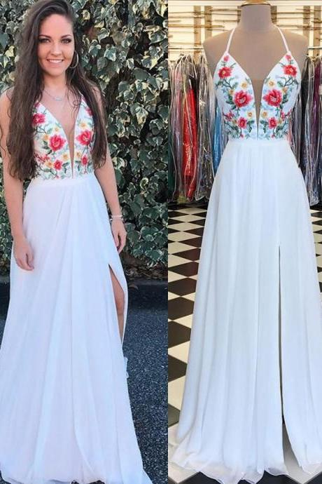 White Chiffon Halter Long Floral Prom Dress with Side Slit, Embroidery Applique Long Prom Dress, P323