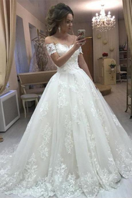 Romantic Women Ball Gown Wedding Dresses, New Lace Off the Shoulder Bridal Gown with Short Sleeves W120