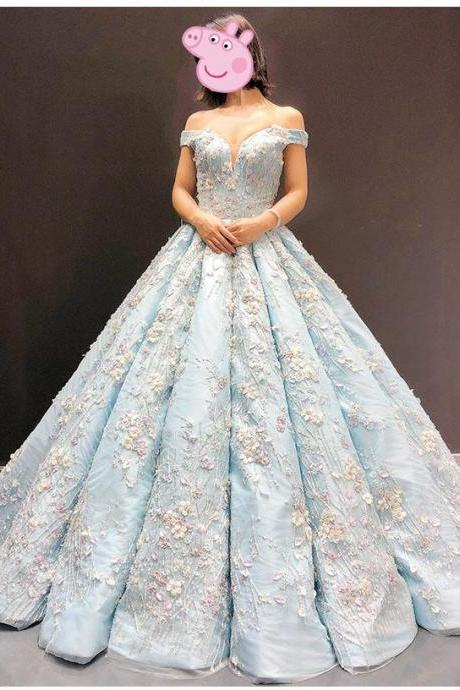 Light Blue Off the Shoulder Ball Gown Quinceanera Dress, Ball Gown Senior Lace Prom Dresses P365