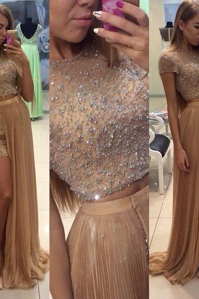 Two Pieces Beading Prom Dresses, Floor-Length Evening Dresses, Real Made Charming Evening Dresses,XC03