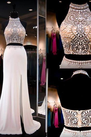 Two Pieces Beading Prom Dresses, Floor-Length Evening Dresses, Real Made Charming Evening Dresses,XC16