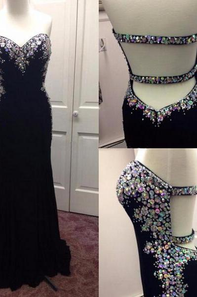 Black Beading Custom Made Sheath Prom Dresses, Floor-Length Evening Dresses,Prom Dresses,XS26