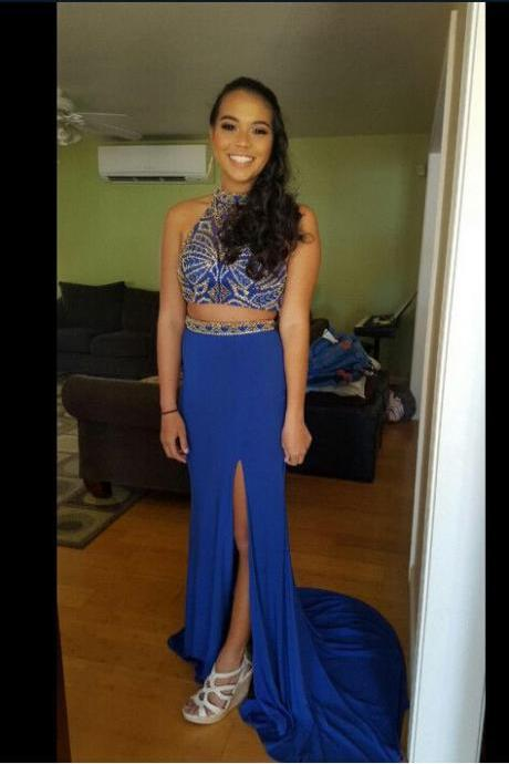 Royal Blue Two Pieces Beading Custom Made Prom Dresses, Floor-Length Evening Dresses,Prom Dresses,ST253