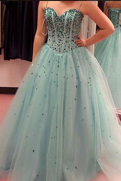 Charming Sweetheart Beading Custom Made Prom Dresses, Floor-Length Evening Dresses,Prom Dresses,ST261