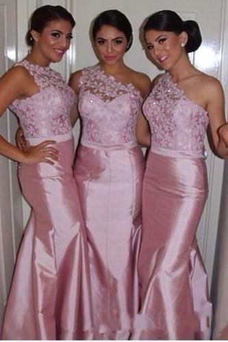 Pink One Shoulder Lace Illusion Neck Satin Floor Length Mermaid Bridesmaid Dress