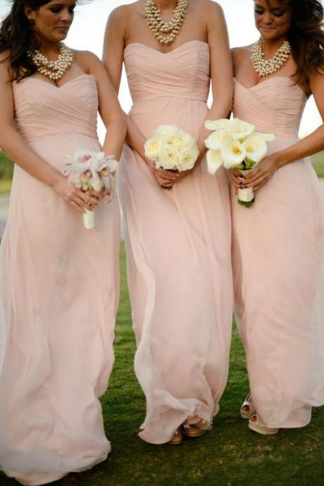 Ruched Sweetheart Floor Length A-Line Bridesmaid Dress