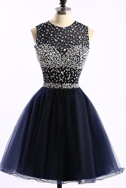 Short Tulle A-Line Homecoming Dress Featuring Beaded Embellished Sleeveless Crew Neck Bodice