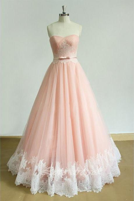 Sweetheart Lace A-Line Prom Dresses, Floor-Length Evening Dress,Prom Dresses,ST292